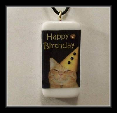 Happy Birthday   Ginger Cat Domino Pendant With Cord
