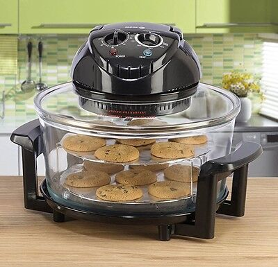 Large 17 Litre Black Premium Convection Halogen Oven Cooker TWO YEAR WARRANTY