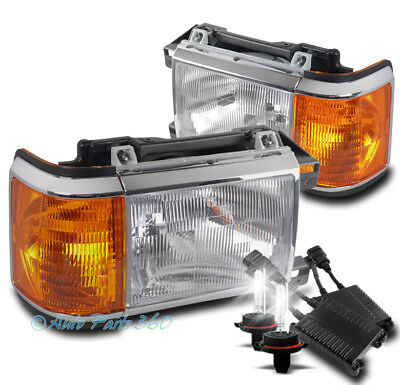 FOR 87-91 FORD BRONCO F150 F250 F350 PICKUP REPLACEMENT HEADLIGHTS W/50W 6K HID
