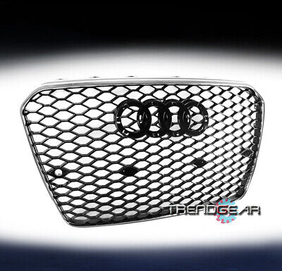 HONEYCOMB SPORT MESH RS5 HEX GRILLE GRILL BLACK/CHROME FOR 13-17 AUDI A5/S5 B8.5