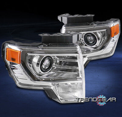 FOR 2009-2014 FORD F-150 CHROME PROJECTOR HALOGEN HEADLIGHTS LAMPS FACTORY STYLE