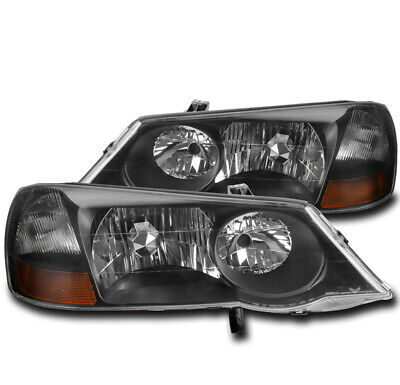 FOR 02-03 ACURA TL (HID MODEL) REPLACEMENT HEADLIGHTS HEADLAMP LAMP BLACK LH+RH