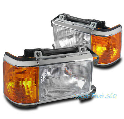 FOR 87-91 FORD BRONCO F150 F250 F350 PICKUP REPLACEMENT HEADLIGHTS HEADLAMP LAMP