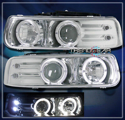 1999-2002 CHEVY SILVERADO/2000-2006 TAHOE SUBURBAN HALO LED PROJECTOR HEADLIGHTS