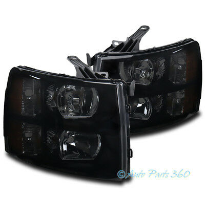 FOR 07-13 CHEVY SILVERADO 1500 2500HD 3500 HD PICKUP BLACK/SMOKE HEADLIGHTS LAMP