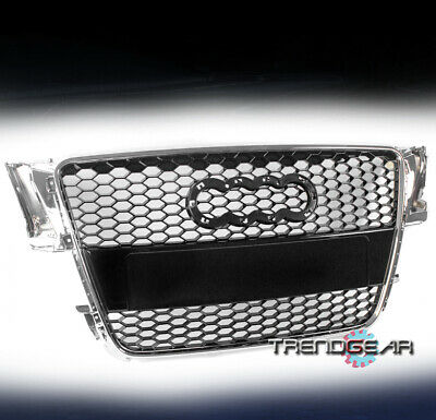 HONEYCOMB MESH HOOD GRILLE GRILL GLOSSY BLACK W/CHROME TRIM FOR 08-12 AUDI A5/S5
