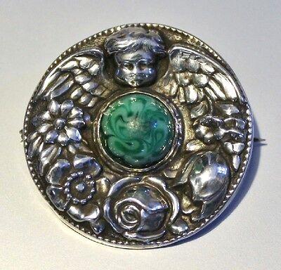 Jugendstil Brosche mit Engel Rosen und grünem Schmuckstein 800 er Silber
