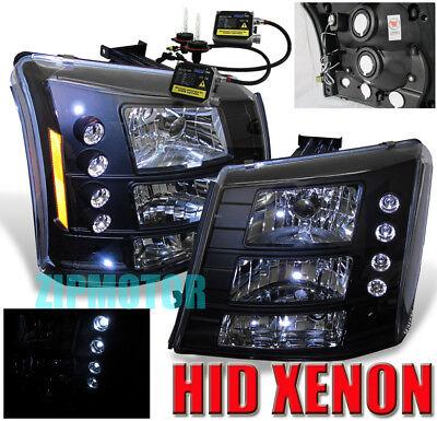 2003-2006 SILVERADO LED HEAD LIGHT+BUMPER+XENON HID BLK