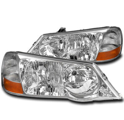 FOR 02-03 ACURA TL (HID MODEL) REPLACEMENT HEADLIGHTS HEADLAMP LAMP CHROME LH+RH