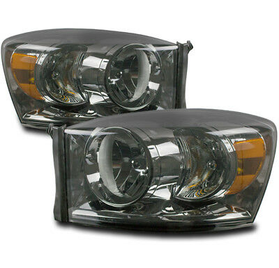 06-08 DODGE RAM 1500/06-09 2500 3500 TRUCK REPLACEMENT HEADLIGHT HEADLAMP SMOKE