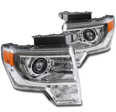 FOR 09-14 FORD F-150 F150 PICKUP TRUCK CHROME PROJECTOR HEADLIGHTS HEADLAMP LAMP