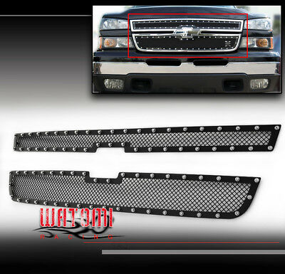 06 CHEVY SILERADO 1500/05+ 2500 HD/3500 UPPER RIVET STAINLESS STEEL MESH GRILLE