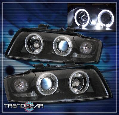 2002-2005 AUDI A4 S4 HALO LED PROJECTOR HEADLIGHT LAMP BLACK 2003 2004 ANGEL EYE