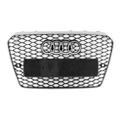 HONEYCOMB MESH EURO RS5 STYLE HEX GRILLE BLACK/SILVER FOR 13-17 AUDI A5/S5 B8.5