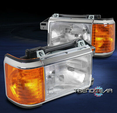 FOR 1987-1991 FORD BRONCO F-150 F-250 F-350 TRUCK HEADLIGHT HEADLAMP LAMP CHROME