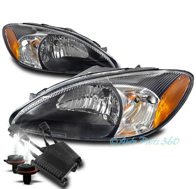 FOR 00-07 FORD TAURUS CRYSTAL REPLACEMENT HEADLIGHTS LAMP BLACK W/50W 8K HID KIT