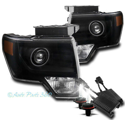 FOR 09-14 FORD F-150 BLACK PROJECTOR HEADLIGHTS LAMP W/50W 6K HID FACTORY STYLE