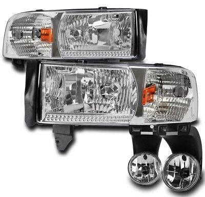 1994-2001 DODGE RAM PICKUP TRUCK CHROME CRYSTAL HEADLIGHTS W/BUMPER FOG LAMP SET