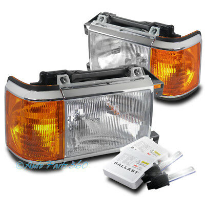 FOR 87-91 FORD BRONCO F-150 F-250 F-350 PICKUP REPLACEMENT HEADLIGHT W/6000K HID
