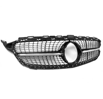 15-16 MERCEDES-BENZ C-CLASS W205 DIAMOND STYLE FRONT GRILLE GRILL BLACK TRIM NEW