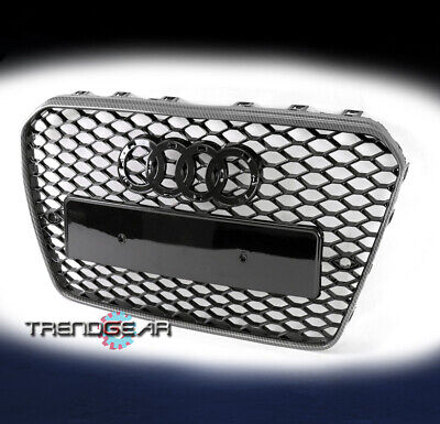 Honeycomb Sport Mesh RS5 Style Hex Grill Black/Carbon Fiber For 13-17 Audi A5 S5