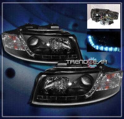2002-2005 AUDI A4 S4 DRL R8 LED PROJECTOR HEADLIGHTS LAMPS BLACK 2003 2004 AVANT