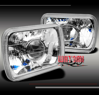 """7""""X6"""" SQUARE GLASS PROJECTOR HEADLIGHTS LAMP CHROME H6014 H6052 H6054 LEFT+RIGHT"""