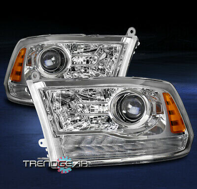 FOR 2013-2018 RAM 1500 2500 3500 PICKUP TRUCK PROJECTOR HEADLIGHTS LAMPS CHROME