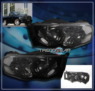 02-05 DODGE RAM PICKUP TRUCK CRYSTAL HEADLIGHTS LAMPS SMOKE 03 04 1500 2500 3500