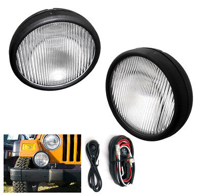 - 1997-2006 JEEP WRANGLER BUMPER DRIVING FOG LIGHTS LAMPS CHROME W/SWITCH+HARNESS
