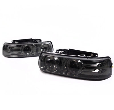 99-02 SILVERADO/00-06 TAHOE SUBURBAN HALO PROJECTOR HEADLIGHT SMOKE LENS USED