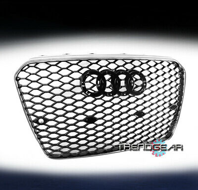 HONEYCOMB SPORT MESH RS5 HEX GRILLE GRILL BLACK/SILVER FOR 13-17 AUDI A5/S5 B8.5