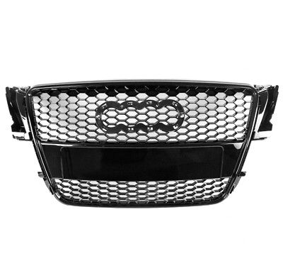 HONEYCOMB SPORT MESH FRONT HOOD GRILLE GRILL GLOSS BLACK FOR 08-12 AUDI A5/S5 8T