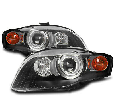 FOR 05-08 AUDI A4 QUATTRO S4 B7 HID TYPE PROJECTOR HEADLIGHT HEADLAMP LAMP BLACK
