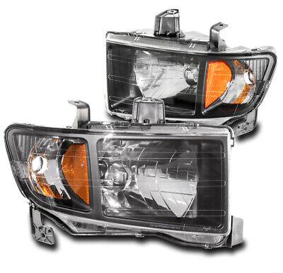 For 06-14 Honda Ridgeline Pickup Replacement Headlights Headlamp Lamp Black Pair