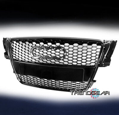 MESH FRONT SPORTBACK BUMPER HOOD GRILLE GLOSSY BLACK FOR 2008-2012 AUDI A5/S5 8T