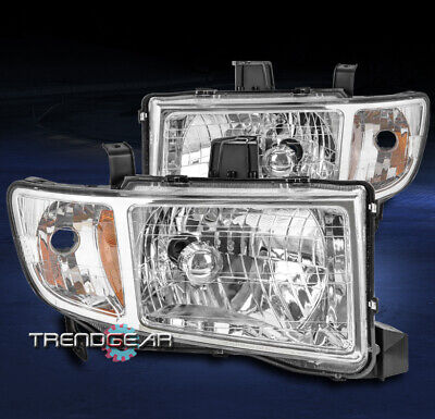 FOR 2006-2014 HONDA RIDGELINE PICKUP REPLACEMENT HEADLIGHT HEADLAMP CHROME LH+RH