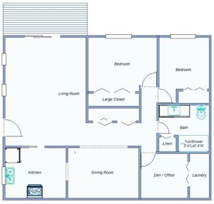 2 bed + Office in Park-like Setting 55 (+ or -)