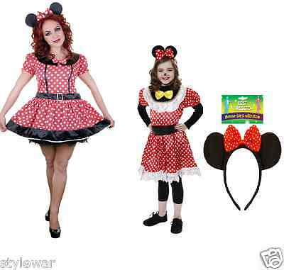 Ladies Girls Mini Mouse Fancy Dress Disney Theme Polka Dot White Red Costume