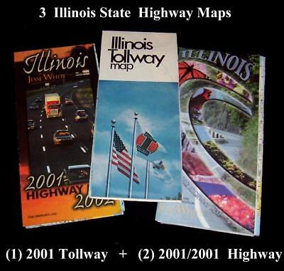 3   2001 02 Illinois Tollway Map State Toll Highway Authority Vintage Road Maps