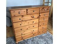 Quality Large Sturdy Solid Pine Wood Drawer Storage Chest Bedroom Dining Hall Kitchen Unit Dresser