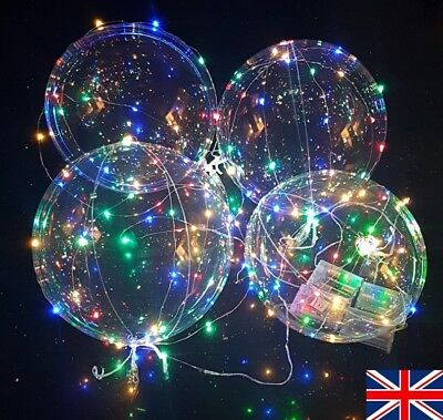Clear Transparent Balloons with Coloured LED Fairy Light Chain Party Decoration - Balloons With Lights