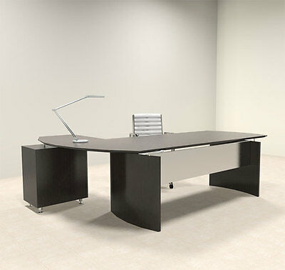 2pc Modern Contemporary L Shaped Executive Office Desk Set Mt-med-o6