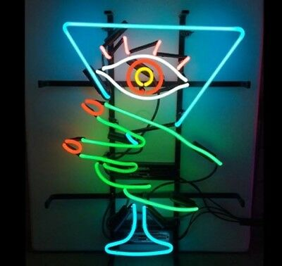 New Martini Glass Eye Girl Happy Hour Light Lamp Beer Neon Sign 24