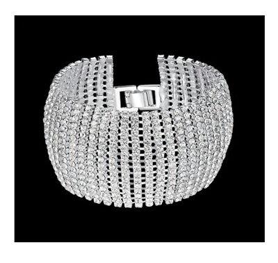 XL Armband Breit 4 cm Armreif Metall Manchette Strass Armkette Silber/Klar