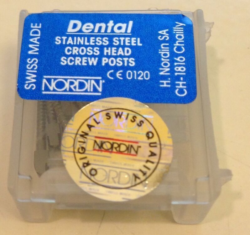 Dental Stainless Steel Screw Posts Cross Head L1 12 pieces Refill kit NORDIN