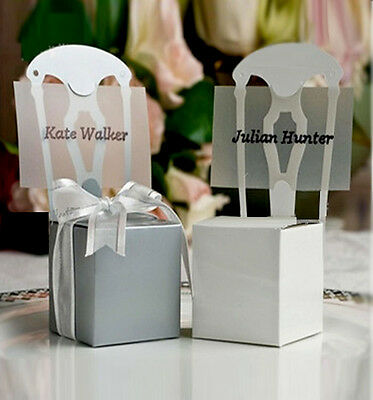 100 Wedding Favor Boxes Place Card Holders Candy Chocolate Gift Box White Chair  ()