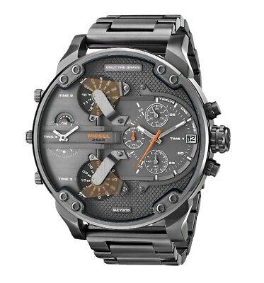 New Diesel Mr Daddy 2 0 Gunmetal Orange Chronograph 4 Time Zone Men Watch Dz7315