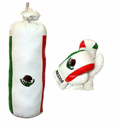 Kids Boxing Kit Training Bag Set Mini Punching Bag Gloves Heavy Bag Mexico Flag