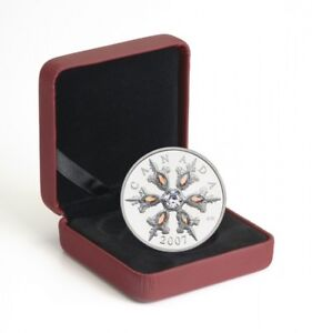 2007 $20 Iridescent Crystal Snowflake - Sterling Silver Coin